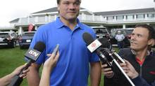 Montreal Canadiens' defenceman Douglas Murray, from Sweden, talks to media at the team's annual golf tournament on Tuesday Sept. 3, 2013, in Laval, Que. (Ryan Remiorz/THE CANADIAN PRESS)
