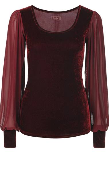Twik burgundy velvet blouse, $30 through www.simons.ca.