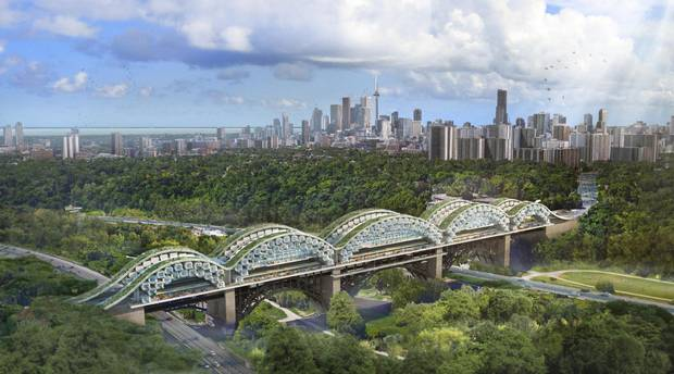 The Living Bridges concept features two rows of housing units, with space for commercial development and a pedestrian path.