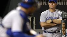 Toronto Blue Jays manager John Farrell watches from the dugout in the seventh inning of a baseball game against the Baltimore Orioles in Baltimore, Friday, Aug. 24, 2012. (Patrick Semansky/AP)