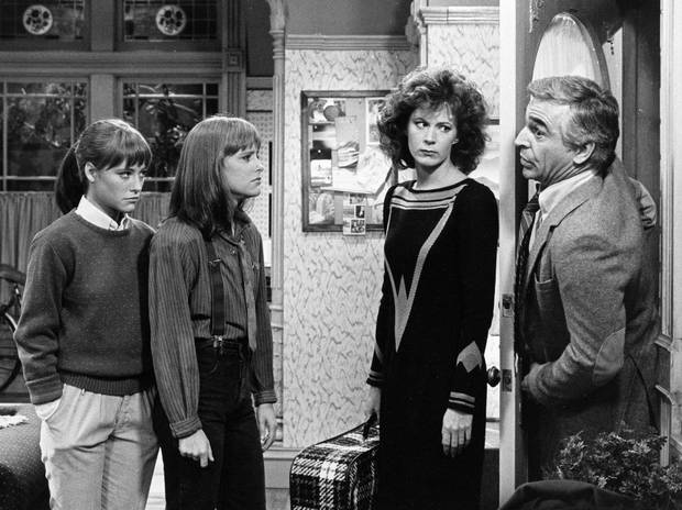 Art Foster (played by Donnelly Rhodes, right,) with daughters Allison and Kate (Liz Sagal, left and Jean Sagal, centre,) and fiancee Beth (Patricia Richardson) in the 1984 NBC-TV's comedy series Double Trouble.