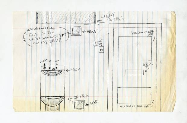 In this sketch, Richard Wolfe detailed the extent of his world at the Regina Provincial Correctional Centre, where he spent almost two years in solitary confinement.