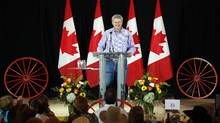 Prime Minister Stephen Harper addresses his annual riding association barbeque in Calgary, Alta. on Saturday, July 7, 2012. (Jeff McIntosh/THE CANADIAN PRESS)
