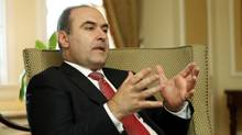 Albanian Deputy Prime Minister Edmond Haxhinasto during an interview in Ottawa, Thursday May 10, 2012. (Fred Chartrand)