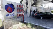 In this May 3, 2010 photo, the BP Helios House, the first BP ARCO's first solar-powered gas station, is seen on in Los Angeles. (Damian Dovarganes/The Associated Press)