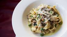 The pappardelle pasta, with mushrooms, favas, tarragon, basil and pecorino at THR & Co. in Toronto. (Matthew Sherwood for The Globe and Mail)