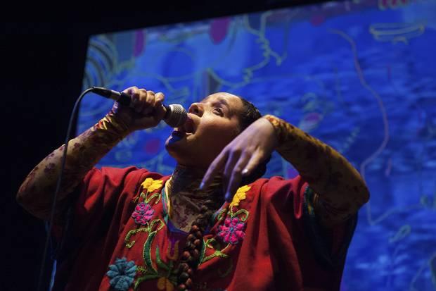 Polaris-winning artist Lido Pimienta performs at Venus Fest in Toronto on Sept. 30.