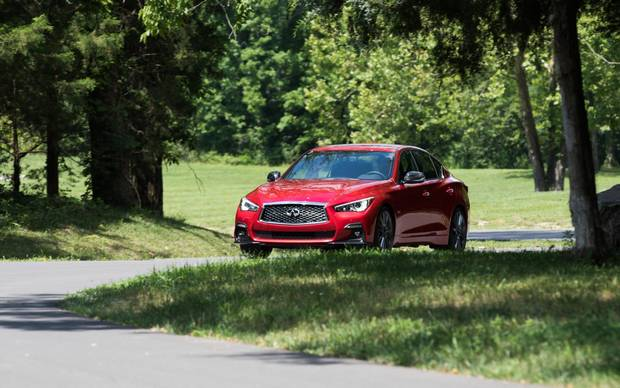 The 2018 Infiniti Q50 sports sedan features a refreshed exterior and interior design.