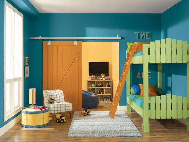 This undated photo provided by Sherwin-Williams shows a a child's bedroom painted in Sherwin-Williams' color called Loch Blue.