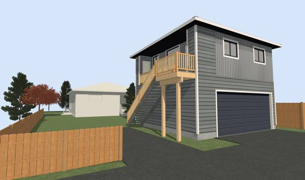 Rendering of the finished Calgary container laneway home.