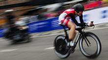 Clara Hughes of Canada competes during the women's elite time trial on Tuesday in Copenhagen. (JONATHAN NACKSTRAND/JONATHAN NACKSTRAND)