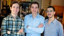 From left, Uniiverse co-founders Craig Follett, Ben Raffi and Adam Meghji (Michael Tenaglia/Courtesy of Uniiverse)