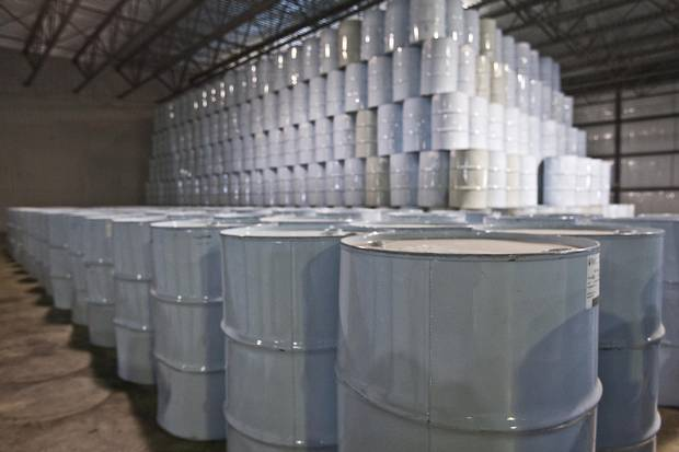 Drums of Maple syrup are stacked in the International Strategic Reserve in Saint-Antoine-de-Tilly, Que.