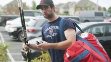 Montreal Canadiens' player Louis Leblanc arrives for an informal training session at the Canadiens' training facility in Brossard, Que., Monday, September 17, 2012 on day two of the NHL lockout. (Graham Hughes/THE CANADIAN PRESS)