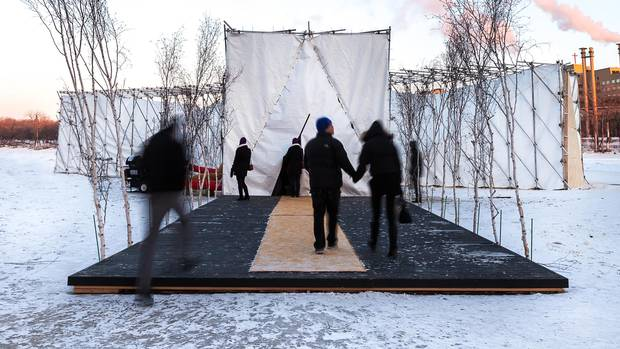 The 2015 edition of RAW: almond, a restaurant pop-up that happens on the frozen Red and Assiniboine Rivers in Winnipeg.