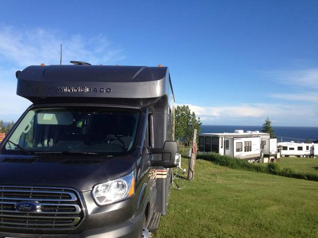 An RV park overlooking the Gulf in Percé.