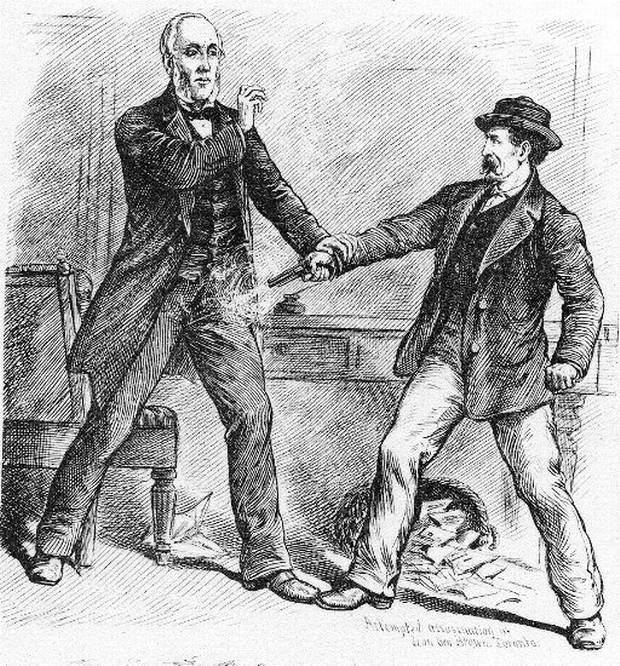 Attempted Assassination of Hon. Geo. Brown by George Bennett, March 25, 1880, Toronto. Illustration by Henri Julien.