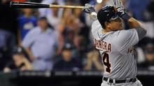 Detroit Tigers' Miguel Cabrera fouls out on his first at-bat against the Kansas City Royals in the first inning in their American League baseball game in Kansas City, Missouri October 3, 2012 (DAVE KAUP/REUTERS)