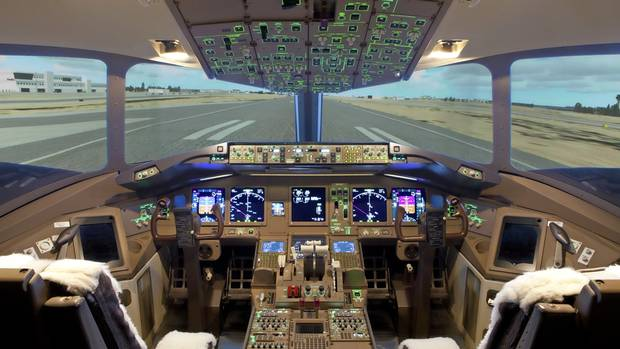 The cockpit of a Boeing 777 flight simulator at uFly in Mississagua, Ont.
