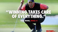 "Nike is causing a social media storm with its latest online ad, seen here, showing a picture of Tiger Woods overlaid with a quote from him, ""Winning takes care of everything."" Woods has used the phrase with reporters since at least 2009 when they ask him about rankings. The ad, posted on Facebook and Twitter, is supposed to allude to the fact that the golfer recovered from career stumbles to regain his world No. 1 ranking on Monday, which he lost in October 2010. But some say it's inappropriate in light of Woods' past marital woes. (AP)"