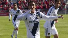 L.A Galaxy's Jose Villarreal celebrates scoring his team's last minute game tying goal against Toronto FC during second half MLS action in Toronto on Saturday, March 30, 2013. (Chris Young/THE CANADIAN PRESS)