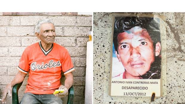 Guadalupe Contrera Oleg, of Iguala, says that his son, Antonio Ivan, then 28, went missing in October, 2012. Underlying many of the struggles families face is suspicion from the authorities and the community that the disappeared were themselves involved in criminal activity.