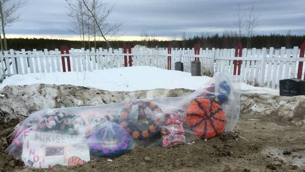 A grave site for Finola Muswaggon, who died at Cross Lake in March, 2016. She was 14.