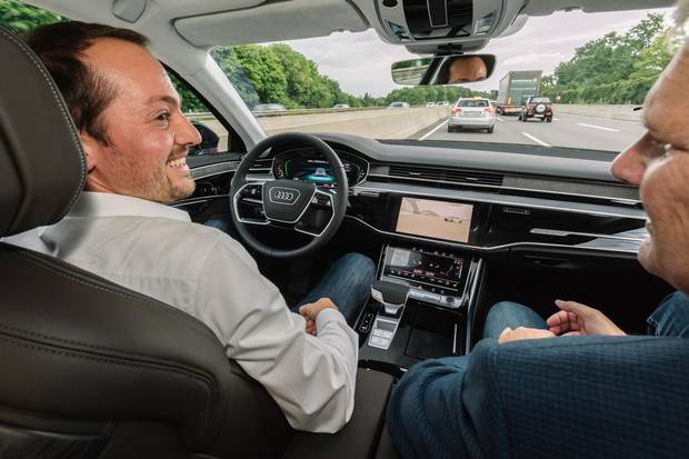 Mark Richardson rides shotgun with Audi engineer Christopher Demiral in a 'conditionally automated' Audi A8.
