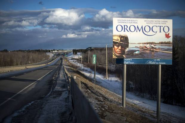'It's like, bang, right in your face,' Thelma Borden says of the Oromocto billboard showing her son-in-law's face.