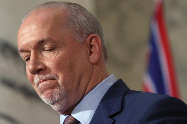 Mr. Horgan is seen at a news conference in Victoria in December, 2017.