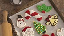 cristmas cookies on cookie sheet (Comstock Images/Getty Images/Comstock Images)