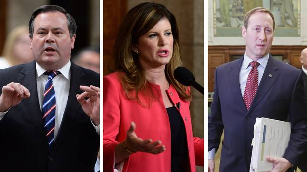 Former cabinet ministers Jason Kenney, left, and Peter MacKay, right, are tight-lipped about any run at the Conservative Party leadership. Current interim leader Rona Ambrose, centre, may get a chance to throw her hat into the ring if supporters succeed in changing party rules at the convention.