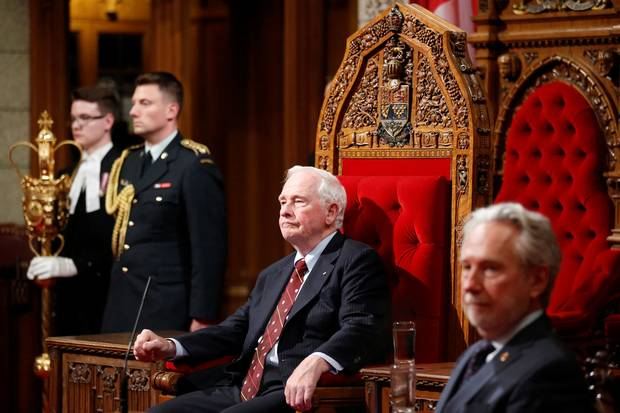 Governor-General David Johnston takes part in a royal assent ceremony in the Senate chamber on June 19, 2017.