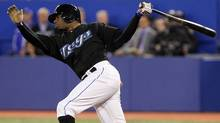 Rajai Davis #11 of the Toronto Blue Jays reacts to a strikeout during MLB action between the Toronto Blue Jays and the Oakland Athletics at the Rogers Centre, April 7, 2011 in Toronto. (Abelimages/Getty Images)
