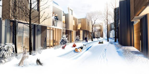 'Inclination,' an entry to the Edmonton Infill Design Competition, by Edmonton-based Kennedy Create.