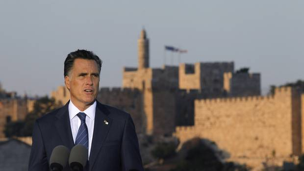 U.S. Republican Presidential candidate Mitt Romney is pictured in front of the Old City of Jerusalem as he delivers foreign policy remarks at Mishkenot Sha'ananim.