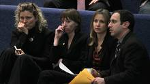 Toronto City Councillors Jaye Robinson, Mary-Margaret McMahon, Michelle Berardinetti and Josh Matlow chat together before a city council vote (Deborah Baic/The Globe and Mail)