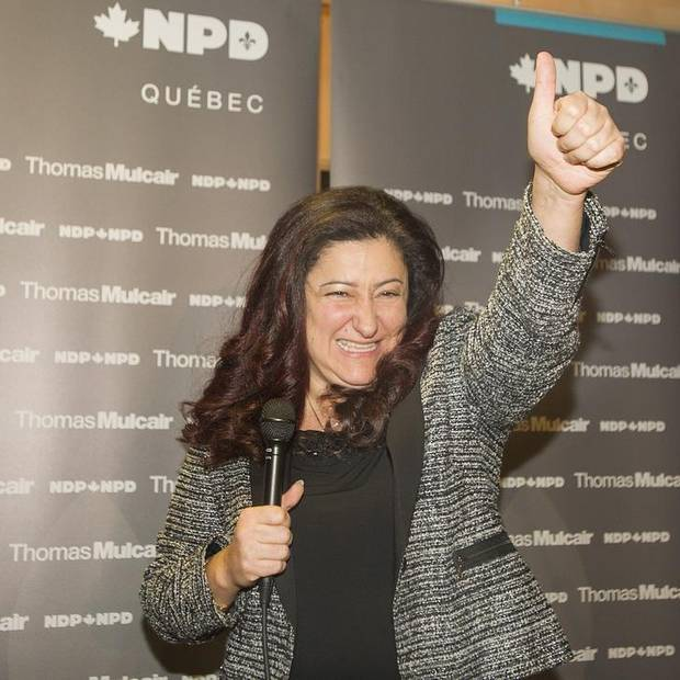 Maria Mourani salutes supporters in Montreal, Jan. 21, 2015, where it was announced that she would run as an NDP candidate for the riding of Ahuntsic-Cartierville in the upcoming federal election.