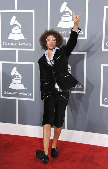 Pope Benedict orders two more inquisitions at the Grammy Awards in Los Angeles on Sunday. Oh wait, Pope Benedict is the other guy in LMFAO, the one that's resigning. This is Redfoo. Gotta get my facts straight. (Jordan Strauss/AP)