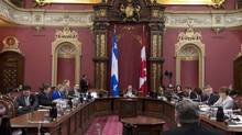 The legislature committee studying the proposed Quebec Charter of Values sits on Jan. 15, 2014, at the legislature in Quebec City. (JACQUES BOISSINOT/THE CANADIAN PRESS)