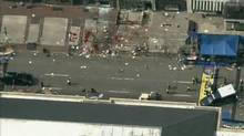 Still image taken from video courtesy of NBC shows the scene of an explosion at the Boston Marathon, (NBC/REUTERS)