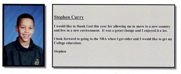 Curry's yearbook entry from his 2002 school year at Etobicoke's Queensway Christian College