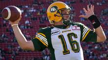 Edmonton Eskimos' quarterback Matt Nichols throws the ball during first half CFL pre-season football action against the Calgary Stampeders in Calgary, Alta., Friday, June 15, 2012. (The Canadian Press)