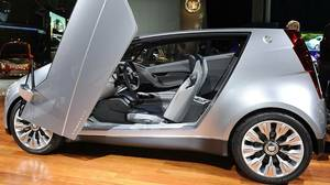 The Cadillac Urban Luxury Concept (ULC) at the L.A. Auto Show in Los Angeles on November 17, 2010. The ULC has gull wing doors, a footprint of only 151 inches long and