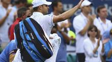 Andy Roddick of the U.S. acknowledges the crowd after his defeat to Juan Martin Del Potro of Argentina in their men's singles match at the U.S. Open in New York September 5, 2012. (ADAM HUNGER/REUTERS)
