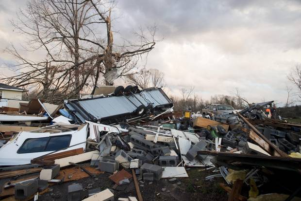 Tornado damage along Richmond Highway in Appomattox County, Va., is shown on Feb. 24, 2016.