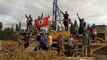 Members of the Tahltan First Nation and other protesters occupy a drilling rig operated by Fortune Minerals Ltd, who pulled out from Sacred Headwaters, near Mt. Kapplan. (HANDOUT/BEYOND BOARDING)