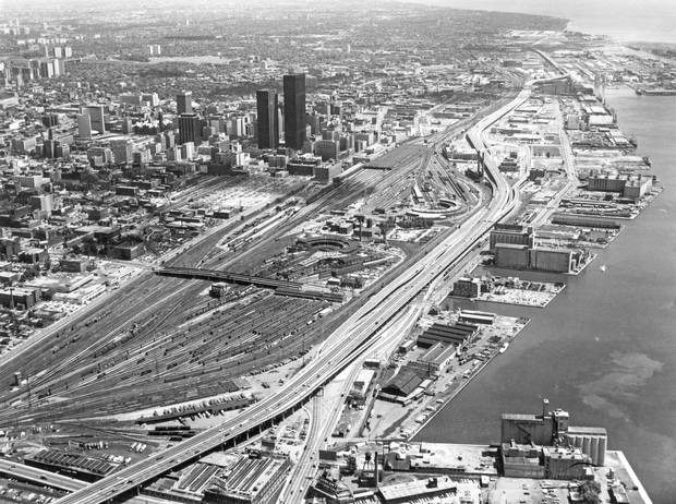 An aerial view of downtown Toronto on June 16, 1969, showing the railway lands and waterfront.