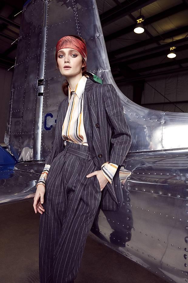 Brunello Cucinelli blazer, $4,225, trousers, $1,175 at Saks Fifth Avenue (saks.com). Victoria Victoria Beckham blouse, $568 at Nordstrom (nordstrom.com). Scarf, $485 at Hermès (hermes.com).
