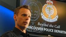 Constable Brian Montague of the Vancouver Police Department addresses the media in Vancouver, B.C. on April 10, 2013. (John Morstad For The Globe and Mail)